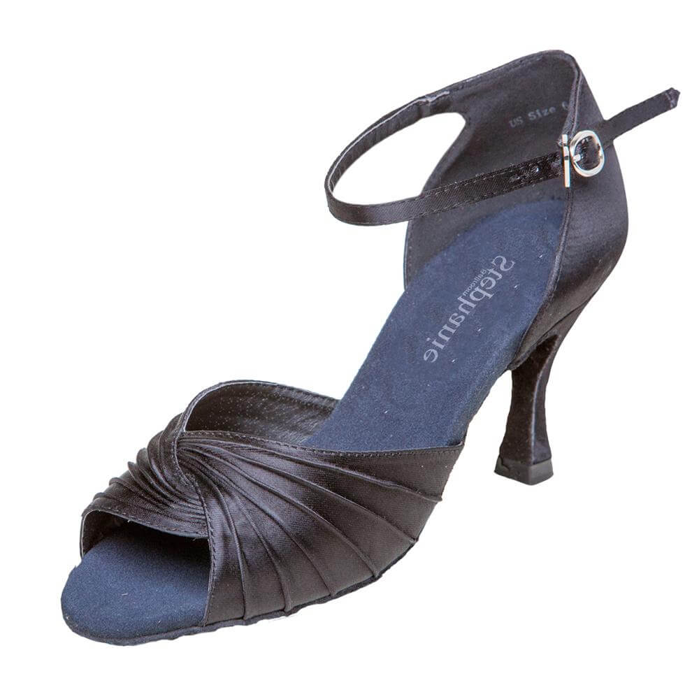 Stephanie Ladies Black Satin 2.5 inch Heel Ballroom Shoes