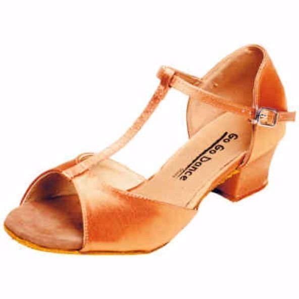 GOGO Ladies Dark Tan Satin 1.5 inch Heel Ballroom Shoe