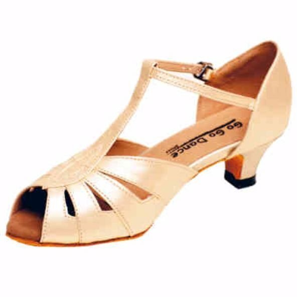 GOGO Ladies Tan Leather T-Strap 1.3 inch Heel Ballroom Shoe