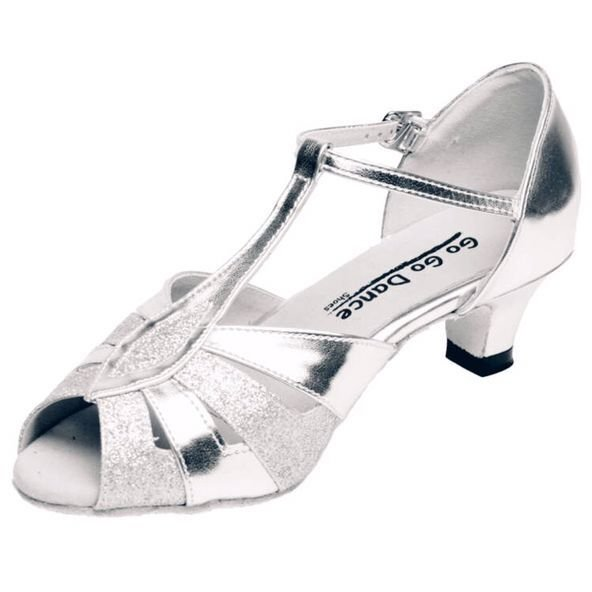 GOGO Ladies Silver Leather T-Strap 1.3 inch Heel Ballroom Shoe