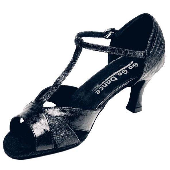 GOGO Ladies 2.5 inch Heel Leather/ Reptile/Glitter T-Strap Ballroom Shoe