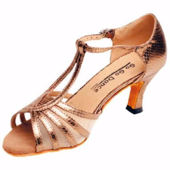GOGO Ladies 2.5 inch Heel Bronze Leather/Scale Ballroom Shoe