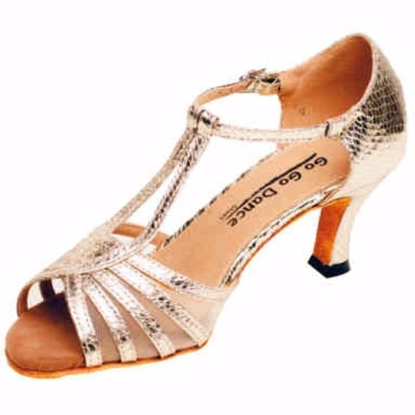 GOGO Ladies 2.5 inch Heel Gold Leather/Scale Ballroom Shoe