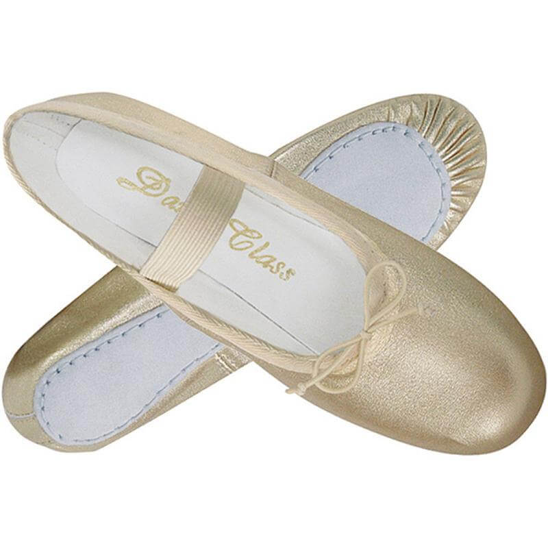 Dance Class Metallic Gold Leather Full Sole Ballet Slipper