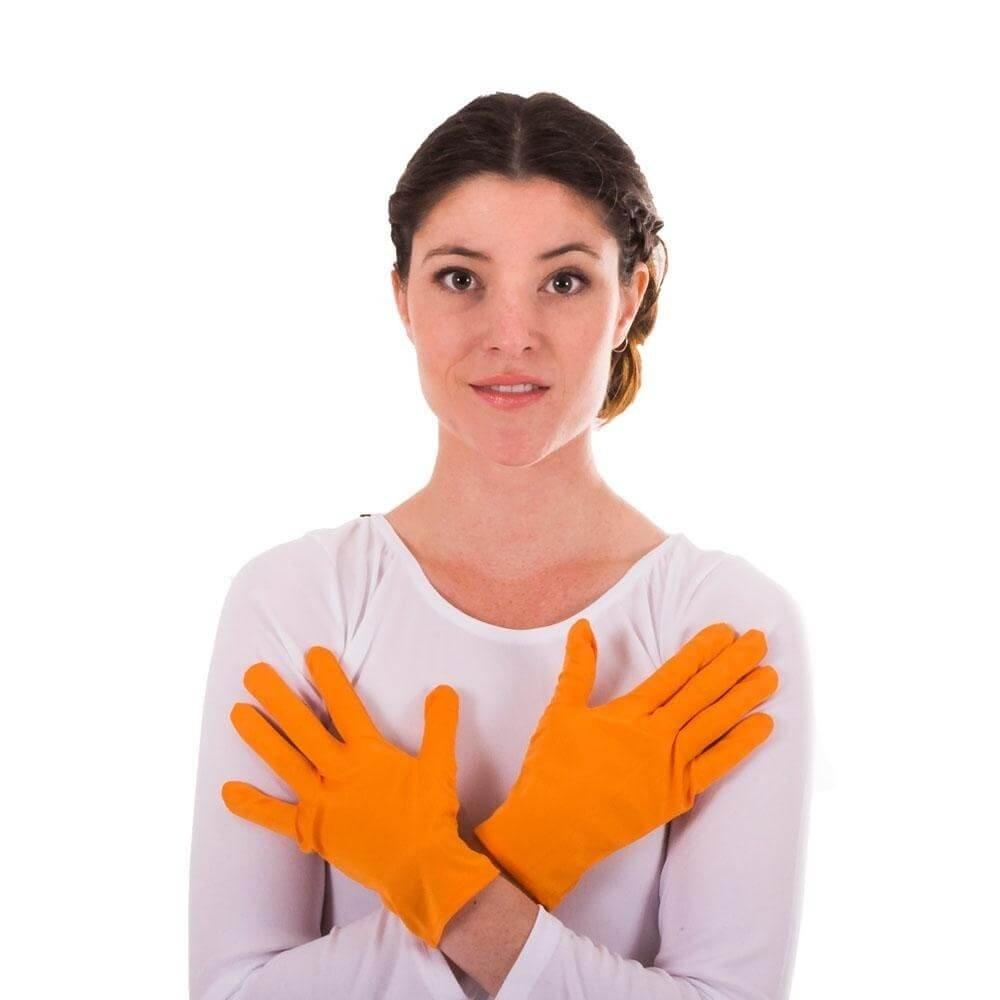 Adult Orange Color Flash Mime Gloves