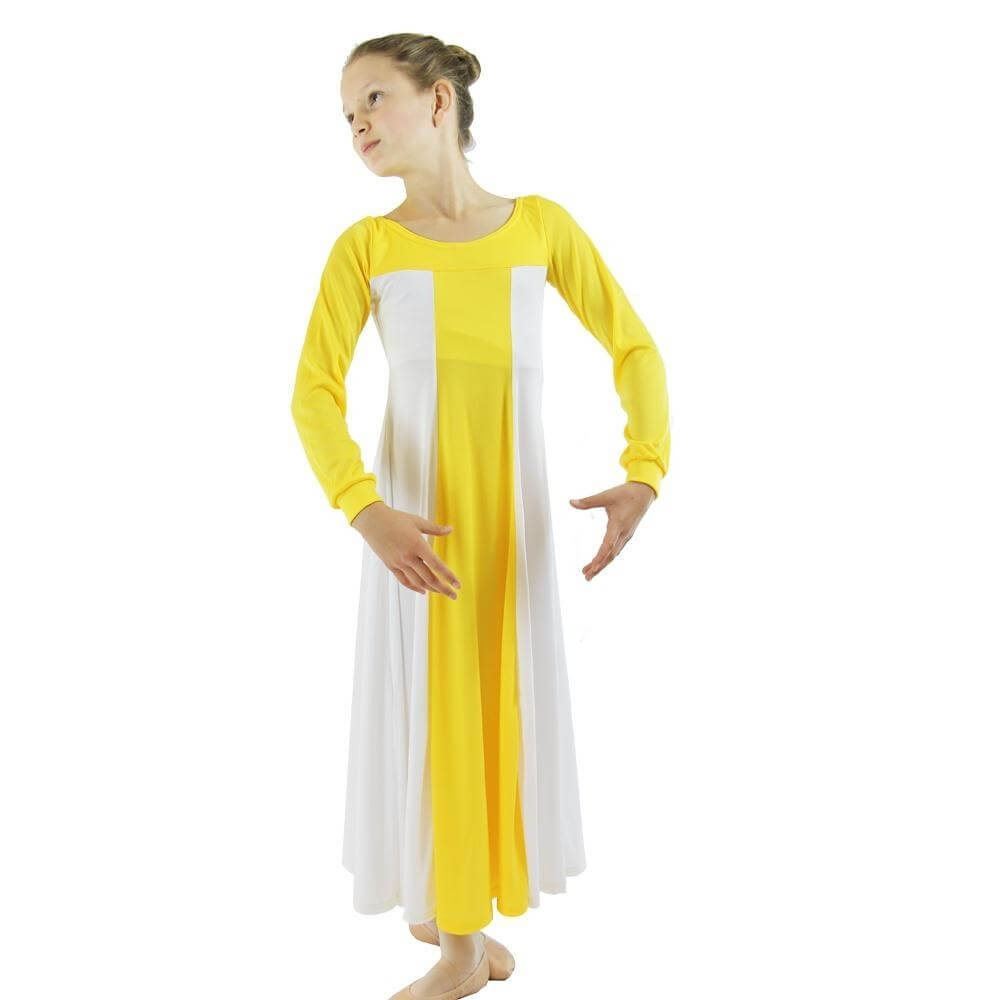 Danzcue Child Yellow Color Block Praise Dress
