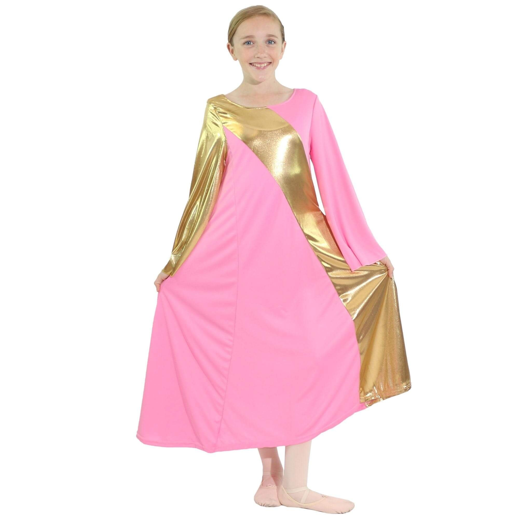 Danzcue Pink-Gold Asymmetrical Bell Sleeve Dress