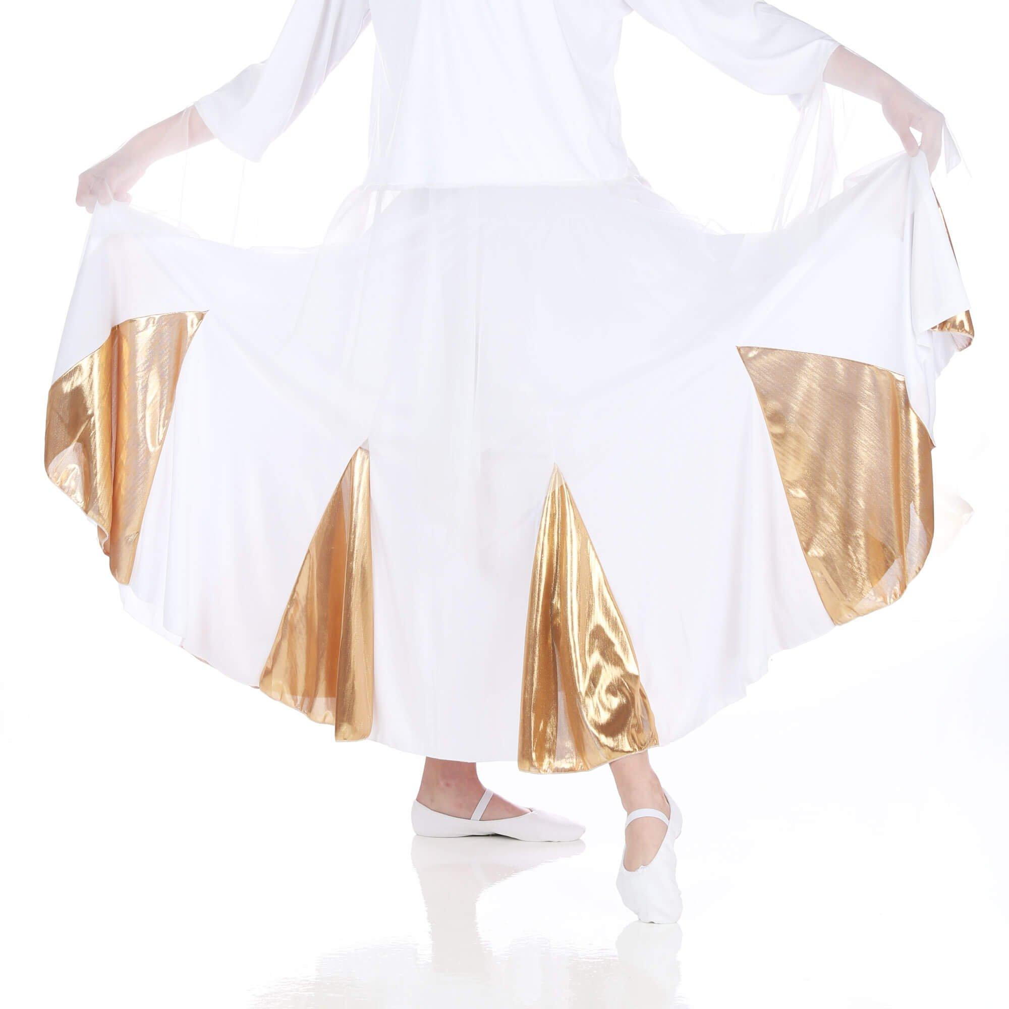 Danzcue White Gold Circle Dance Skirt