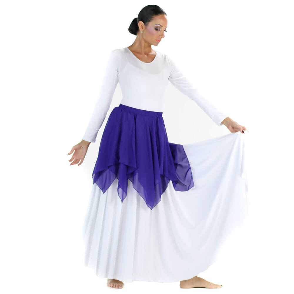 Danzcue Irregular Hem Double Layer Chiffon Skirt
