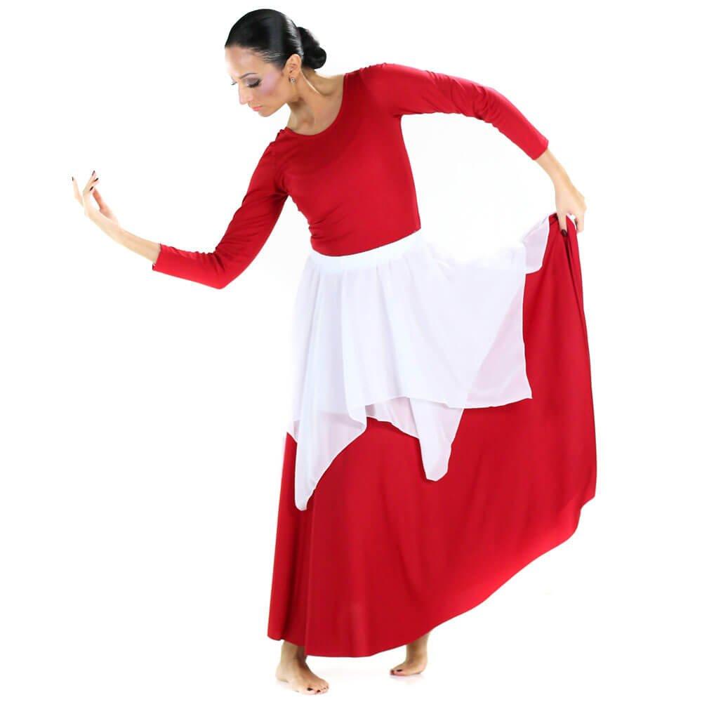 Danzcue Irregular Hem Double Layer Chiffon Skirt