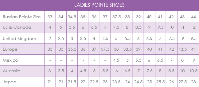 Freed Ballet Shoes Size Chart