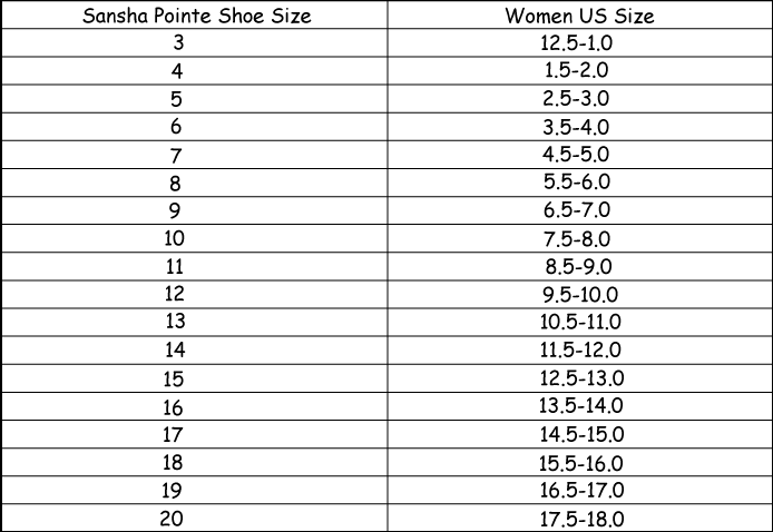 Pointe Shoe Sizing