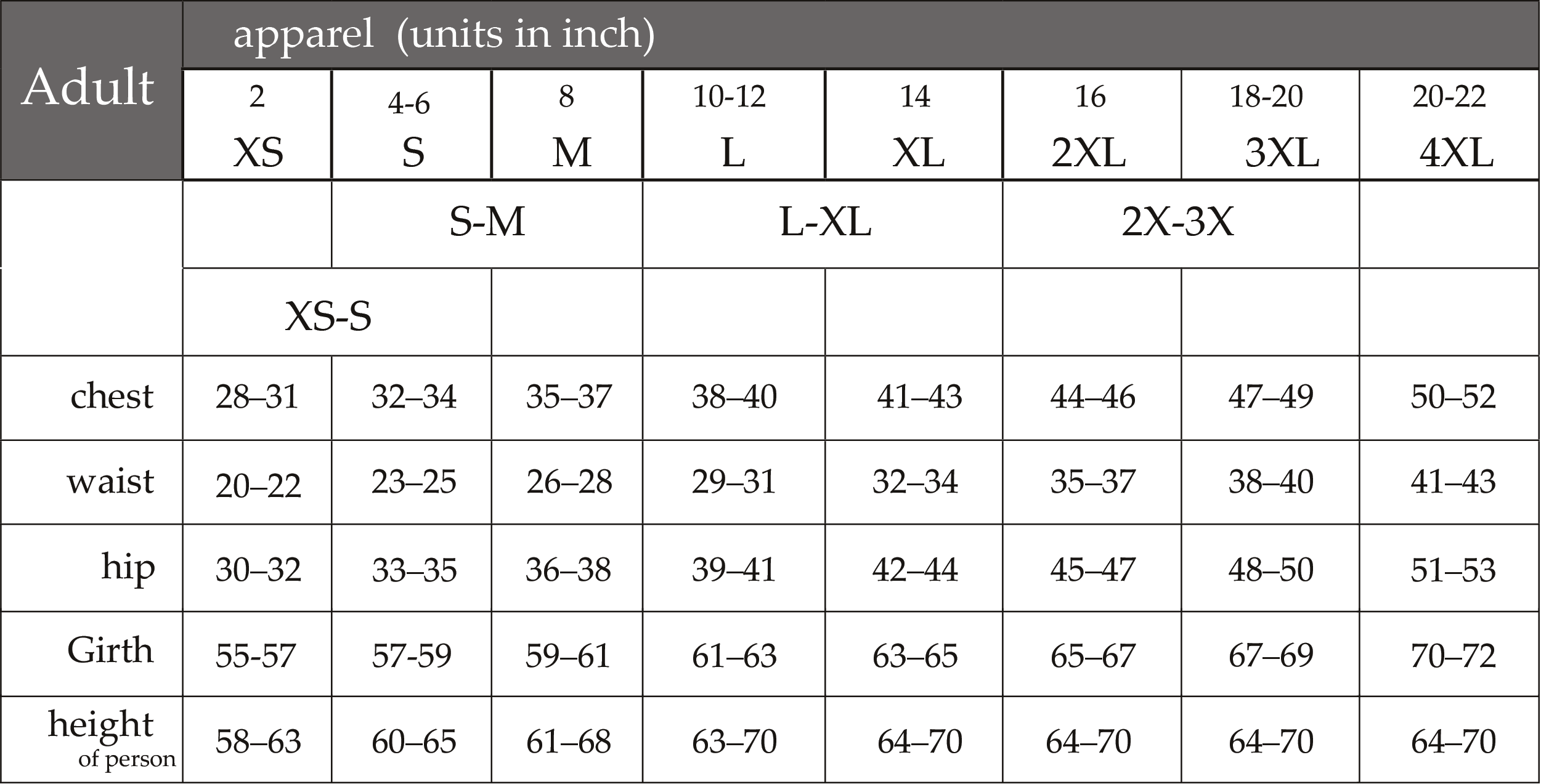 Adult Sizing Chart