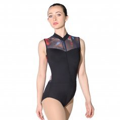 Baiwu Women's High Neck Zipper Front Mesh Print Leotard