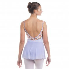 Baiwu Women's V-Back Lace Floral Skirt Leotard
