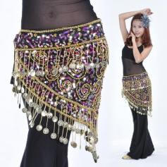 150 Coins Beaded Color Sequins Belly Dance Hip Scarf