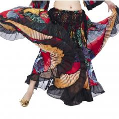 Colorful Butterfly Print Flamenco Skirt