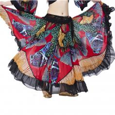 Fashion colorful butterfly print belly dance skirt [BELSK002-RED]