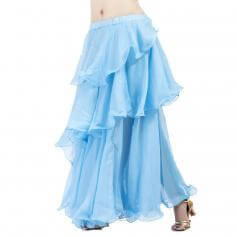 Light Blue Chiffon Spiral Belly Dance Skirt
