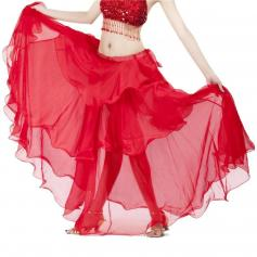 Red Chiffon Spiral Belly Dance Skirt