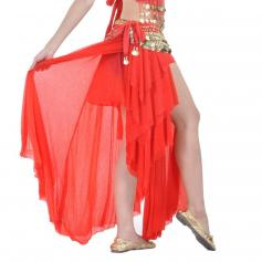 Red Fashion Glass Silk Belly Dance Ear Skirt