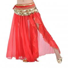 Red Fashion Front Openings Belly Dance Skirt