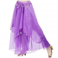 Fashionable Chiffon Hanging Coin Belly Dance Skirt [BELSK017]