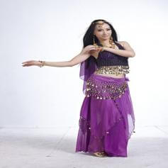 5-Piece Long Muslin Skirt Belly Dance Costume