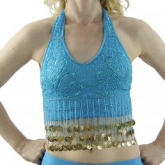 Fashion Coin Tassels Halter Vest Belly Dance Bra Top