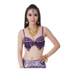 Fashion Grape Sequinned Belly Dance Bra