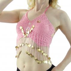 Butterfly shape with shining coins Belly Dance Bra