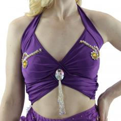 Fashion Diamond Hang Bead Belly Dance Top
