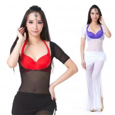 Translucent Yarn Short-sleeved Belly Dance Pushup Top