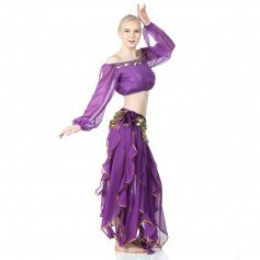 Danzcue Belly Dance Chiffon Long Puff Sleeves Top