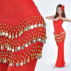 158 Coins Red Belly Dance Hip Scarf Wrap