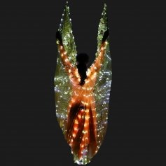 Danzcue Adult Transparent Gold Costume Angel LED Wing