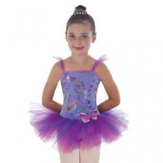 Body Wrappers Child Butterfly Metallic Print Camisole Tutu