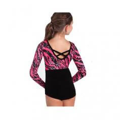 Body Wrappers Velvet Long Sleeve Leotard with Print