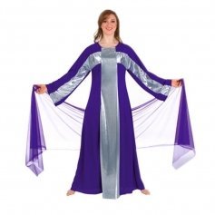 Body Wrappers Deep Purple-Silver Cross Robe Worship Dancewear