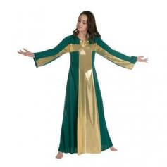 Kelly Green-Gold Cross Robe Worship Dancewear