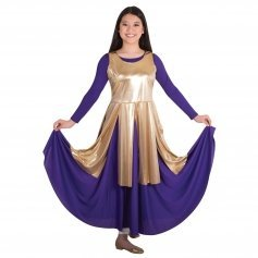Body Wrappers Praise Dance Metallic Fly-Away Panel Tunic