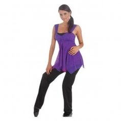 Body Wrappers Two-Tone Flowing Power Mesh Tunic