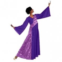 Deep Purple-Viole Shimmery Asymmetrical Bell Sleeve Dress