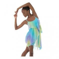 Body Wrappers Chiffon Print Asymmetrical Layered Dance Dress