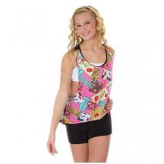 Body Wrappers Pin-ups Print Hi-low Tank Pullover with Mesh Back