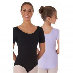 Body Wrappers Black Short Sleeve Ballet Cut Leotard