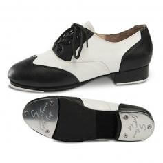Danshuz Black/White Applause Leather Lace Up Tap Shoe