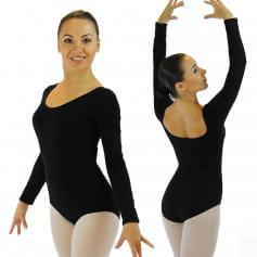 Danzcue Adult Cotton Long Sleeve Ballet Cut Leotard