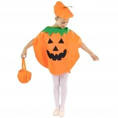 Danzcue Child Halloween Pumpkin Costume Suit with Hat and Pumpkin Bag [DQOS005]