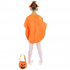 Danzcue Child Halloween Pumpkin Costume Suit with Hat and Pumpkin Bag